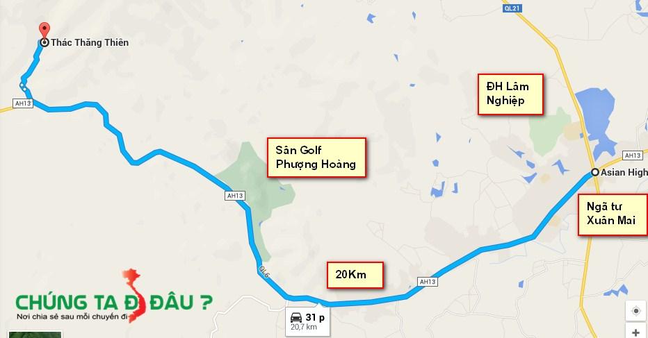 Bản đồ từ thị trấn Xuân Mai đi Thác Thăng Thiên