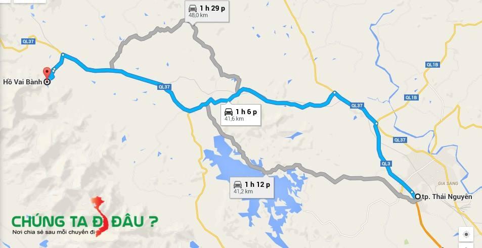 Bản đồ du lịch Đát đắng - Hồ Vai Bành
