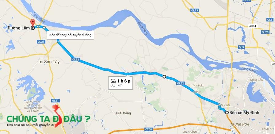 Bản đồ đi làng cổ Đường Lâm