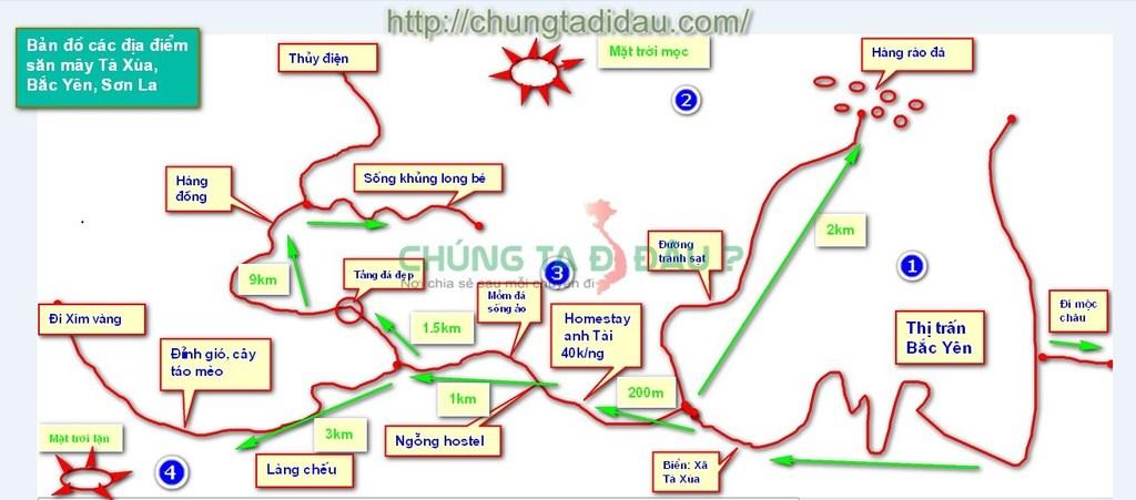 Bản đồ các điểm săn mây ở Tà Xùa - Bắc Yên