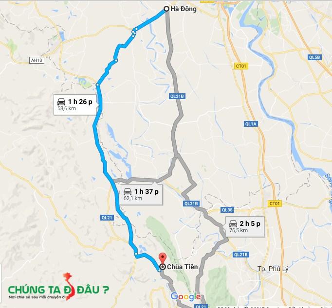 Bản đồ từ Hà Đông đi chùa Tiên