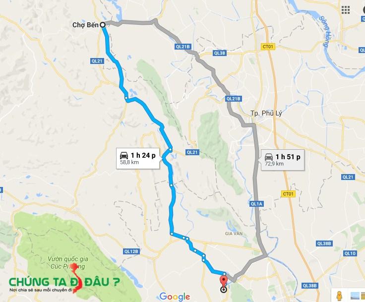 Bản đồ đường đi từ nhà mình xuống Bái Đính