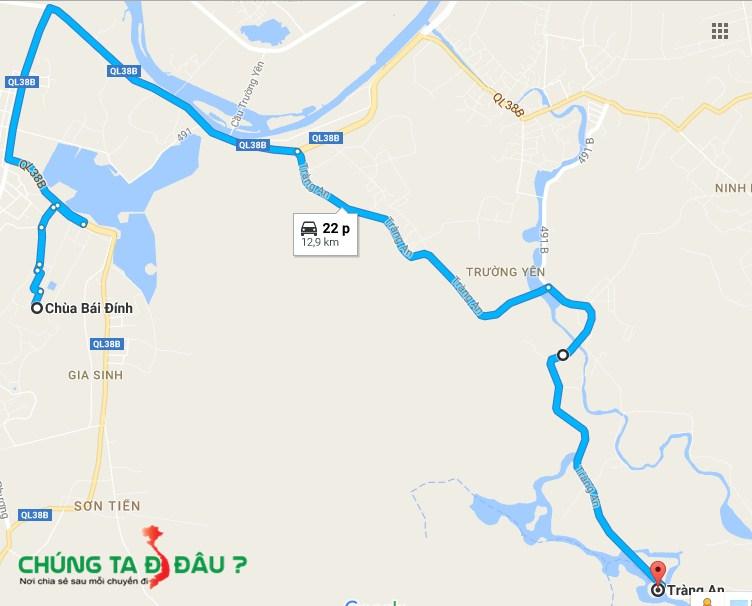 Bản đồ từ chùa Bái Đính sang Tràng An
