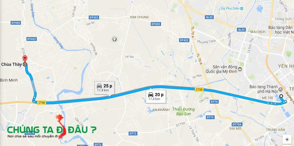 Bản đồ từ Bảo tàng Hà Nội đi chùa Thầy