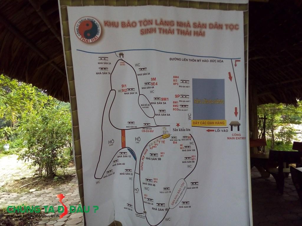 Bản đồ thăm quan Khu bảo tồn Làng nhà sàn dân tộc sinh thái Thái Hải