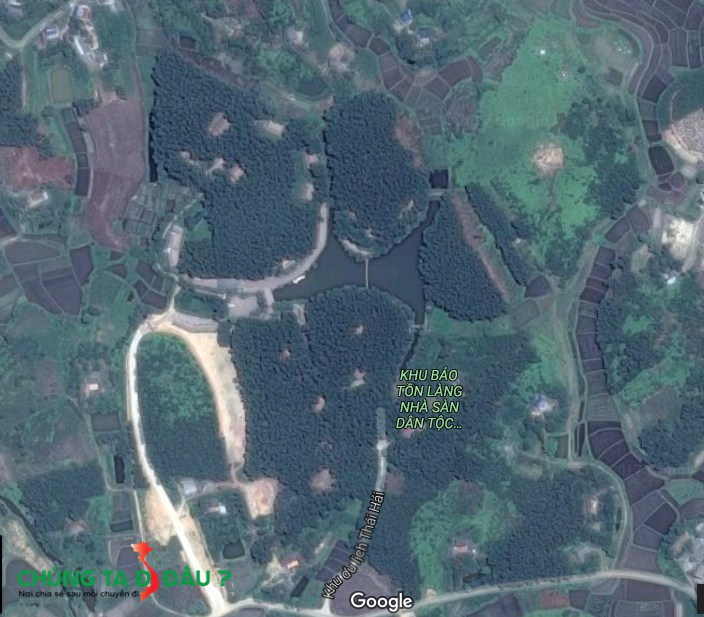 Làng nà sàn Thái Hải nhìn từ trên cao xuống - Ảnh vệ tinh
