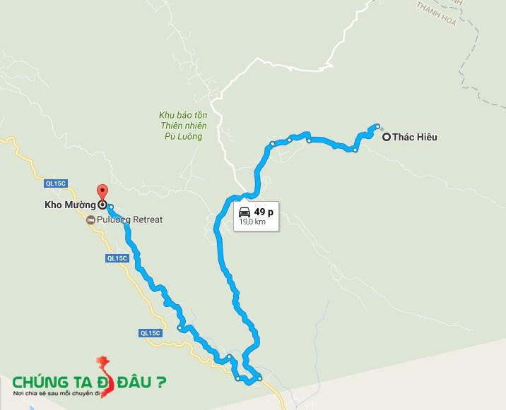 Bản đồ từ Thác Hiêu đi Kho Mường
