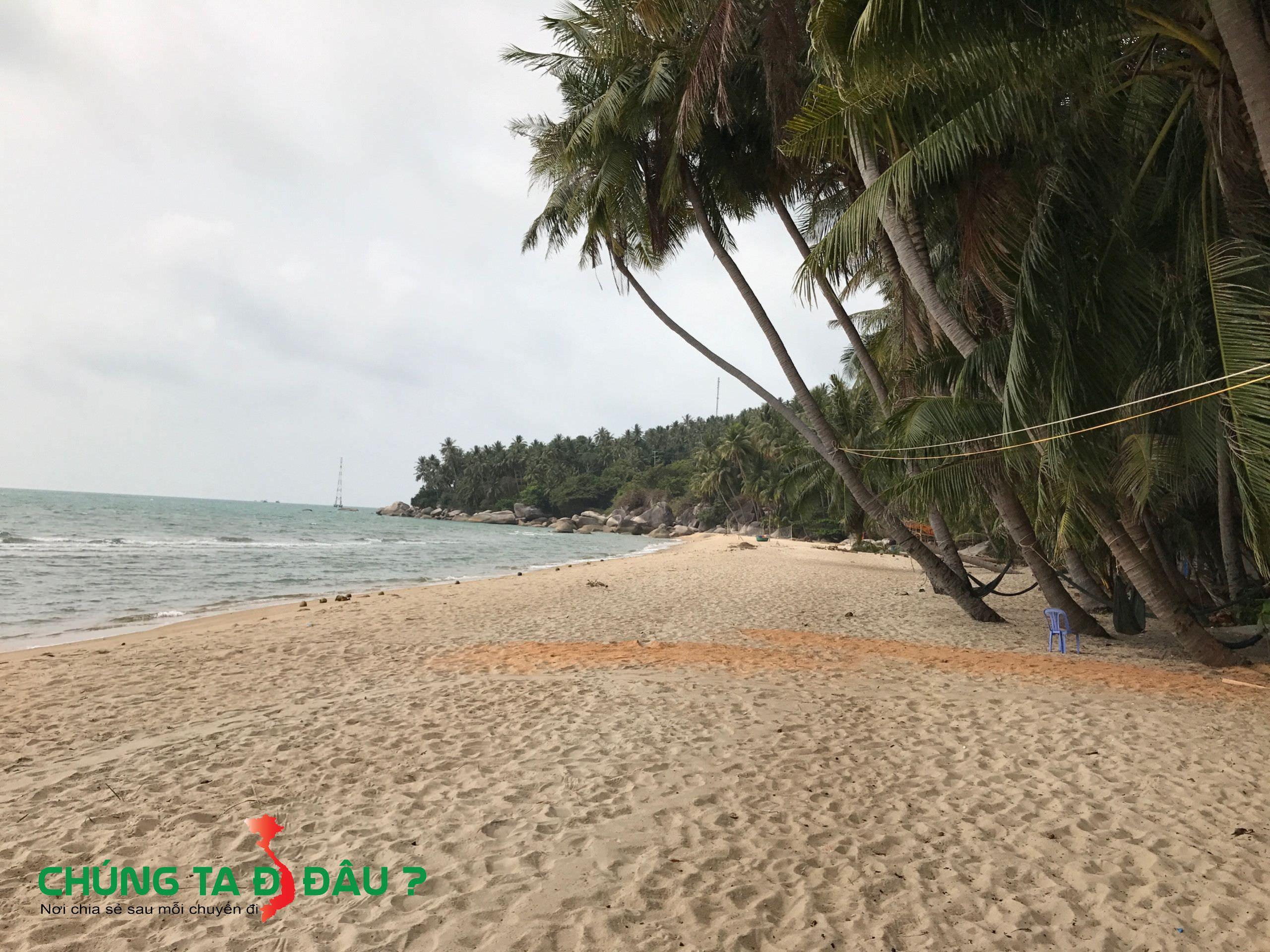 Bãi cái trắng trải dài bên bờ biển với những hàng dừa xanh