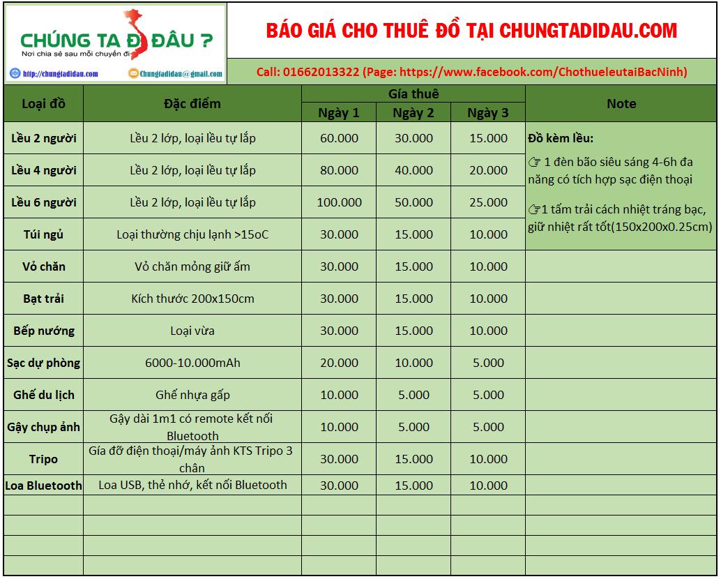 Báo giá cho thuê đồ cắm trại tại Chungtadidau.com