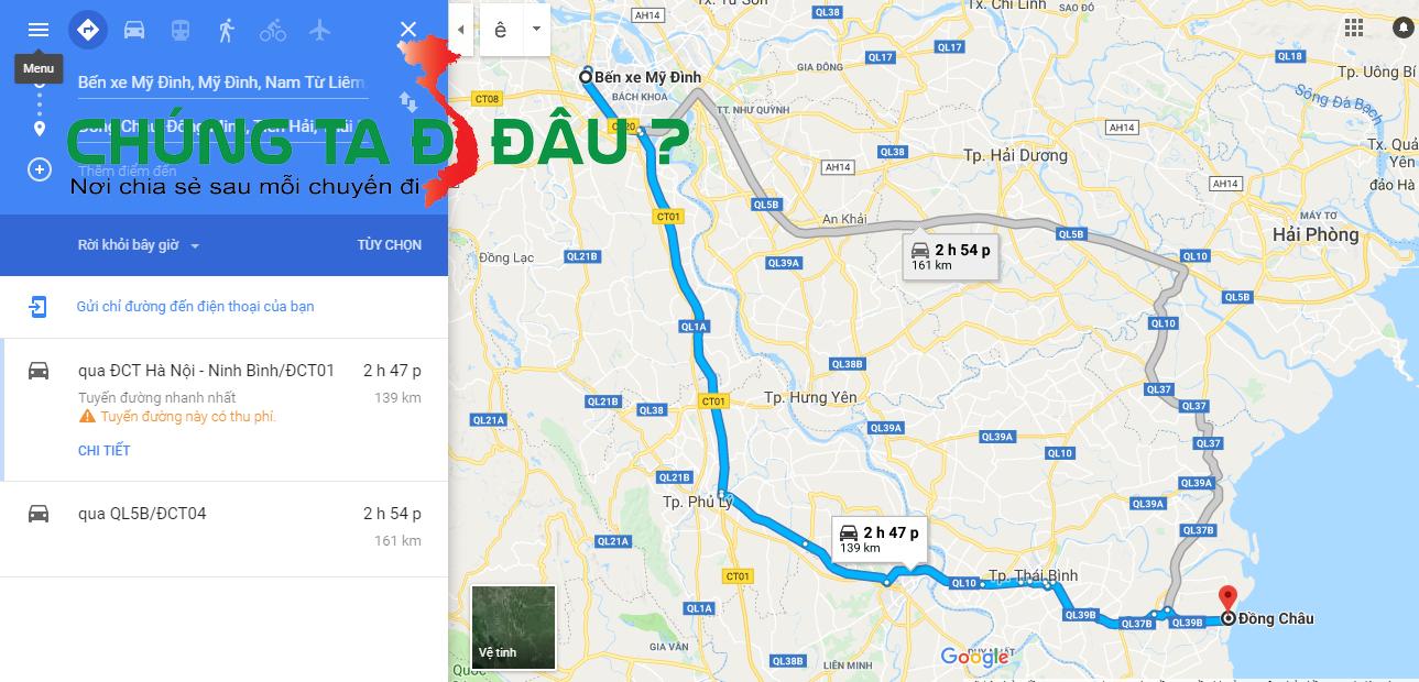 Bản đồ tà Hà Nội đi Đồng Châu