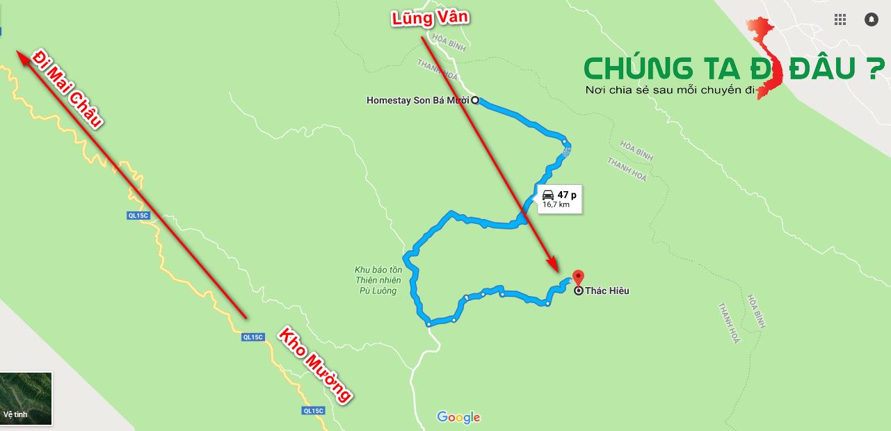Đường đi từ Lũng Vân sang Son Bá Mười rồi sang thác Hiêu
