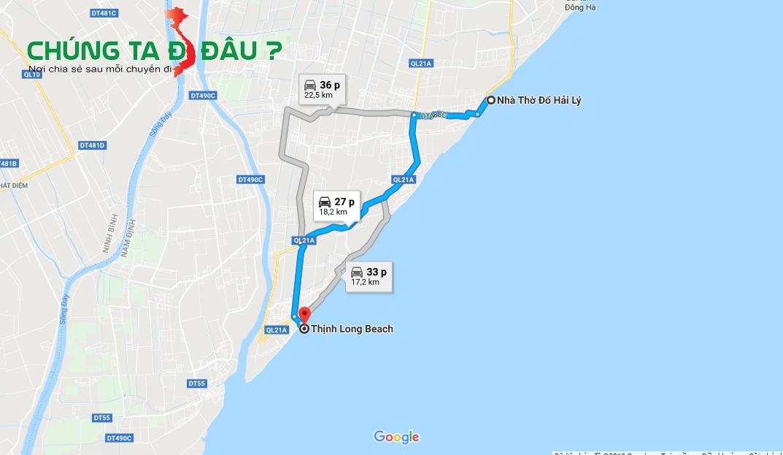 Bản đồ từ nhà thờ đổ đi xuống bãi biển Thịnh Long