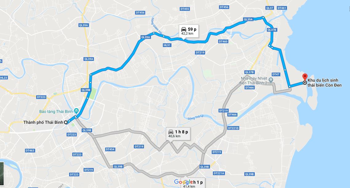 Bản đồ từ Tp. Thái Bình đi Cồn Đen